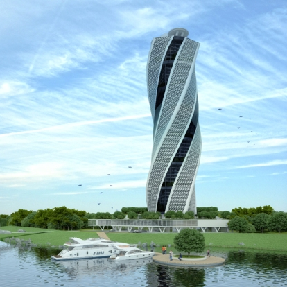 Floating and Rotating Hotel Tower